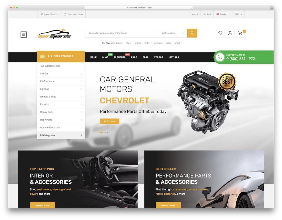 azirspares automotive wordpress theme