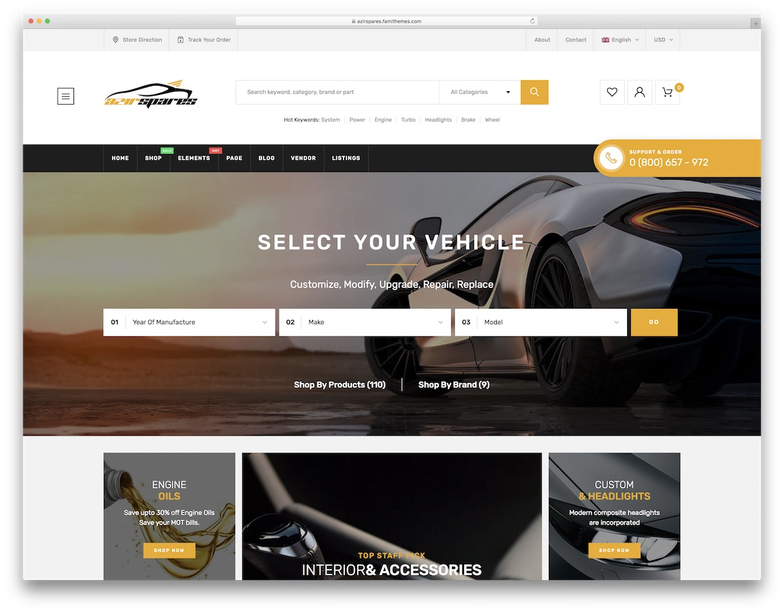 azirspares car dealer wordpress theme