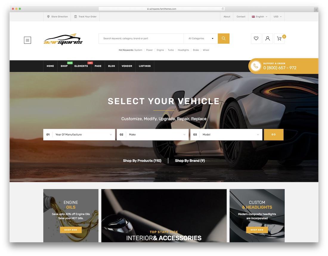 azirspares car dealer wordpress theme