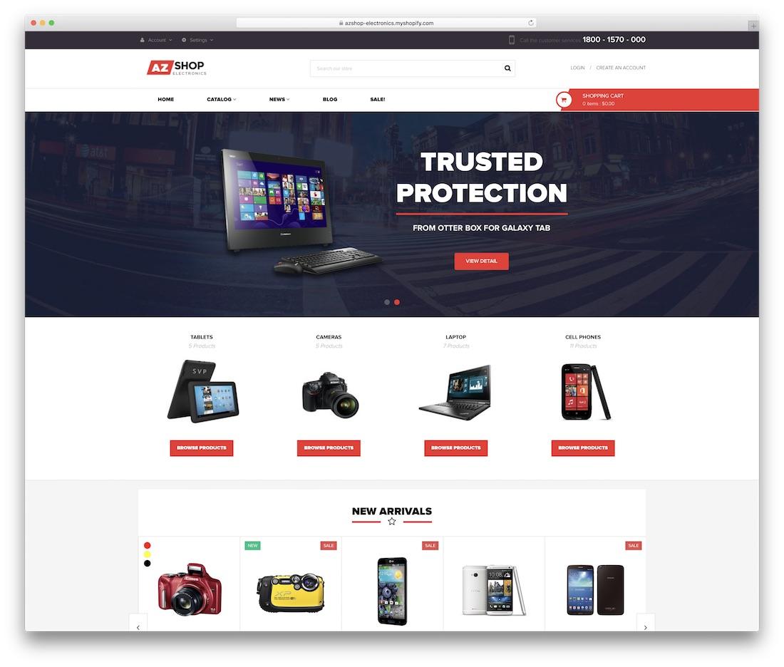 azshop shopify technology theme