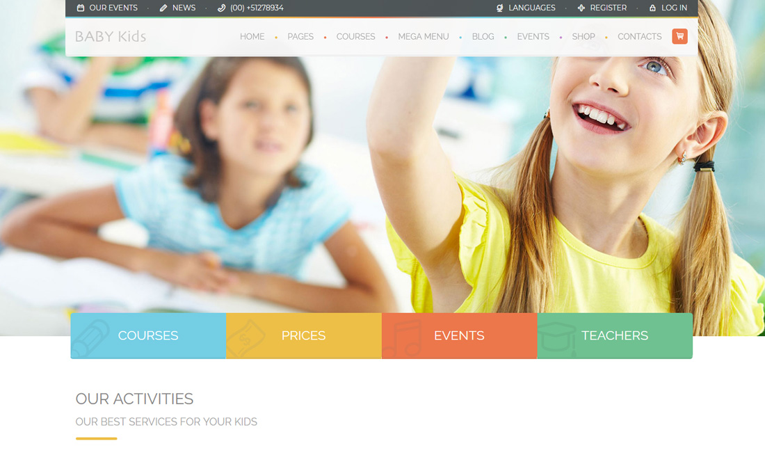it is a full width website template with full of colorful web elements and kids friendly web elements - Kids Home Pages