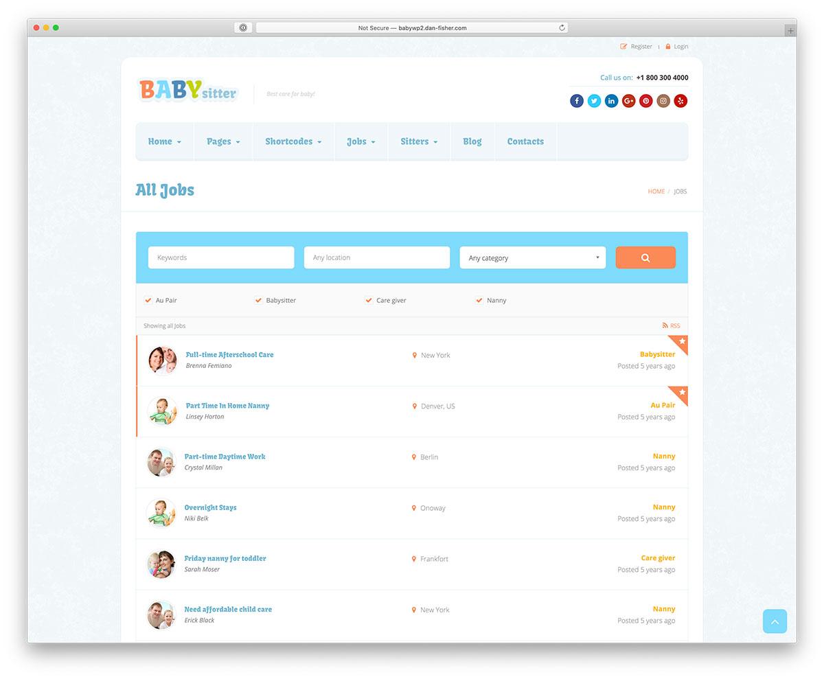 babysitter WordPress job board theme