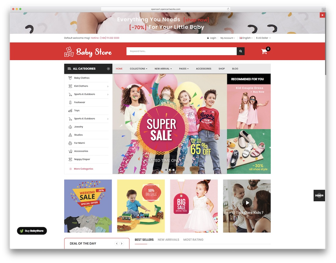 babystore opencart theme