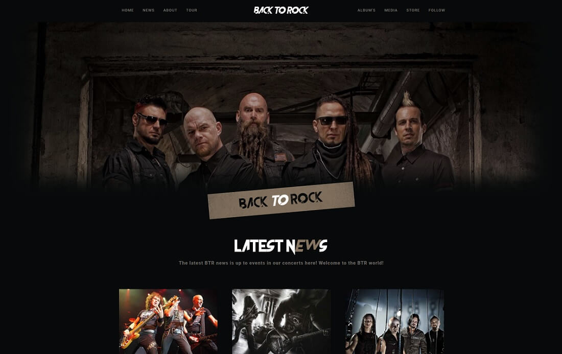 back to rock musician website template