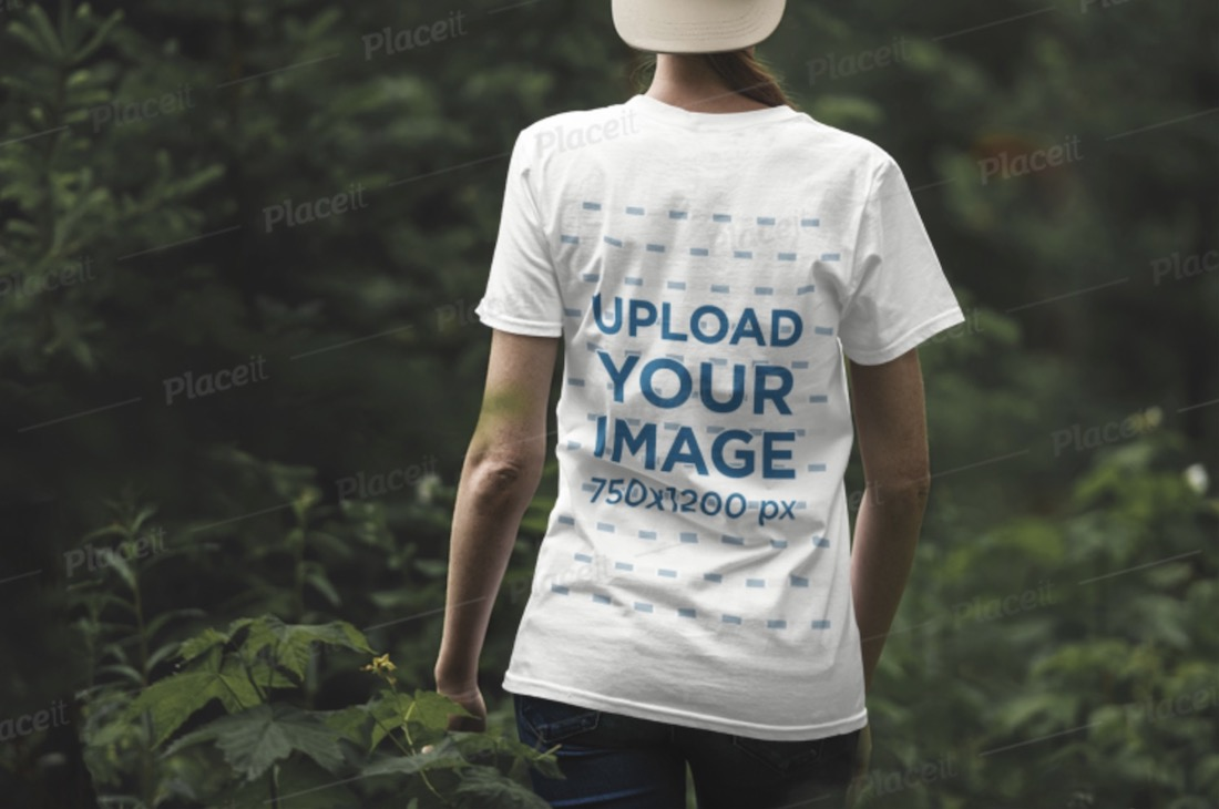 back view t-shirt mockup of a woman outdoors