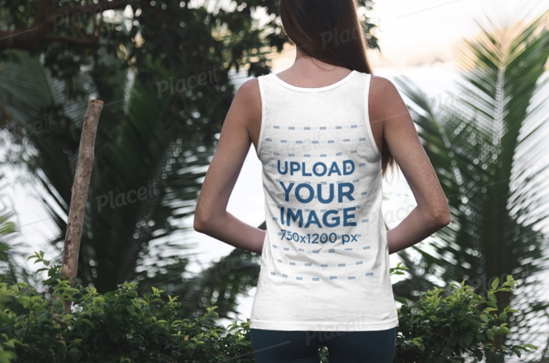 back view tank top mockup featuring a female model