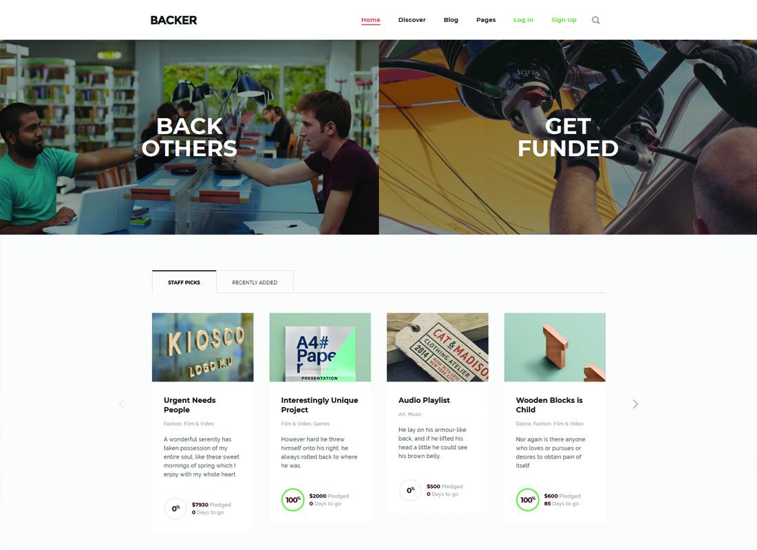 Backer   The Modern WordPress Crowdfunding WordPress Theme