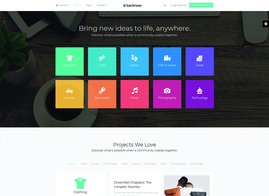 Backnow | Crowdfunding and Fundraising WordPress Theme