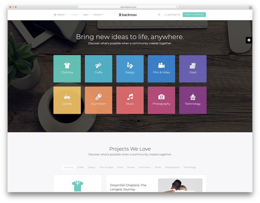 backnow crowdfunding wordpress theme