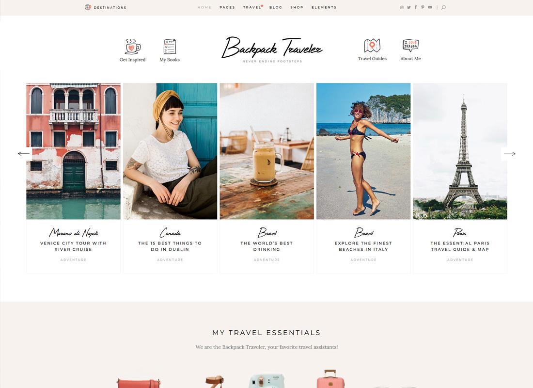 Backpack Traveler | Modern Travel Blog WordPress Theme