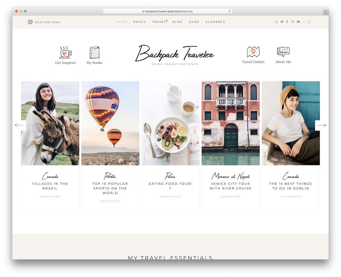 backpack traveler wordpress personal blog theme