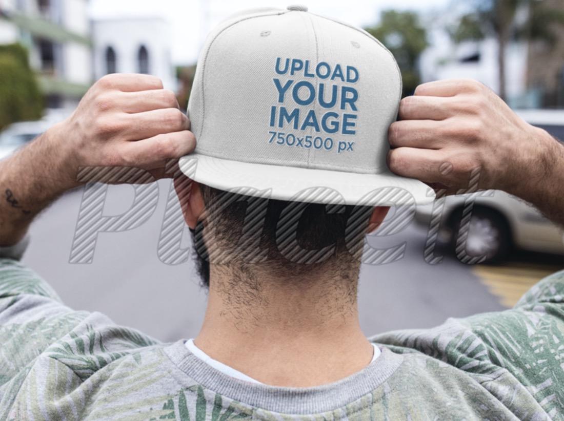 backwards snapback hat mockup