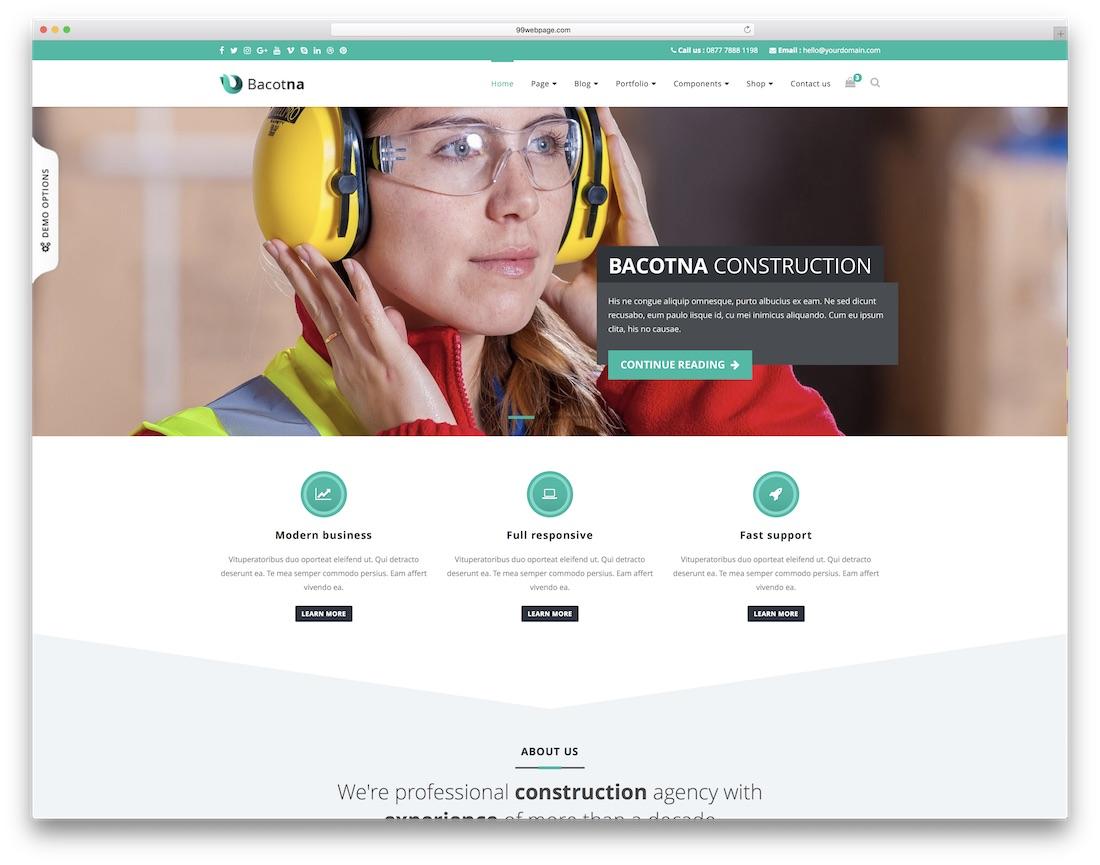 bacotna html construction company template