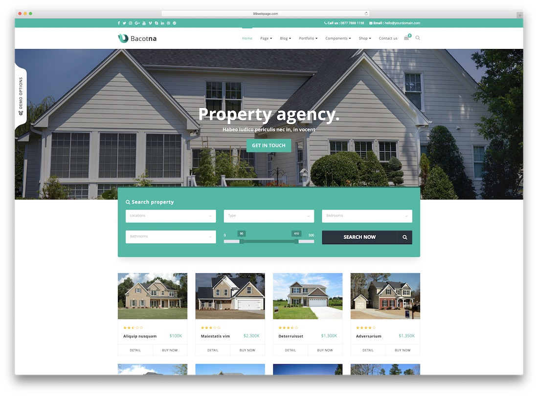 bacotna real estate website template