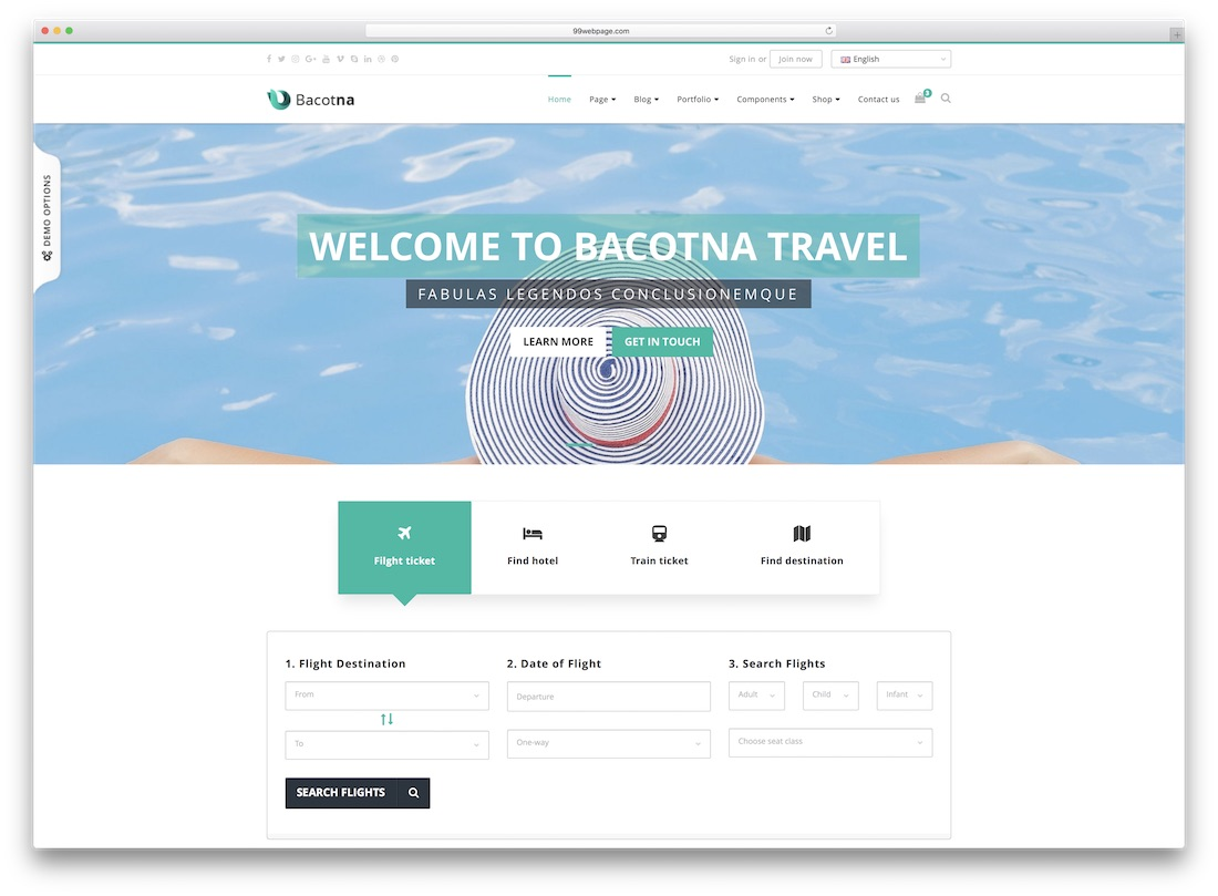 bacotna travel website template