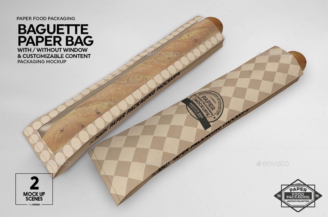 baguette paper bag mockup