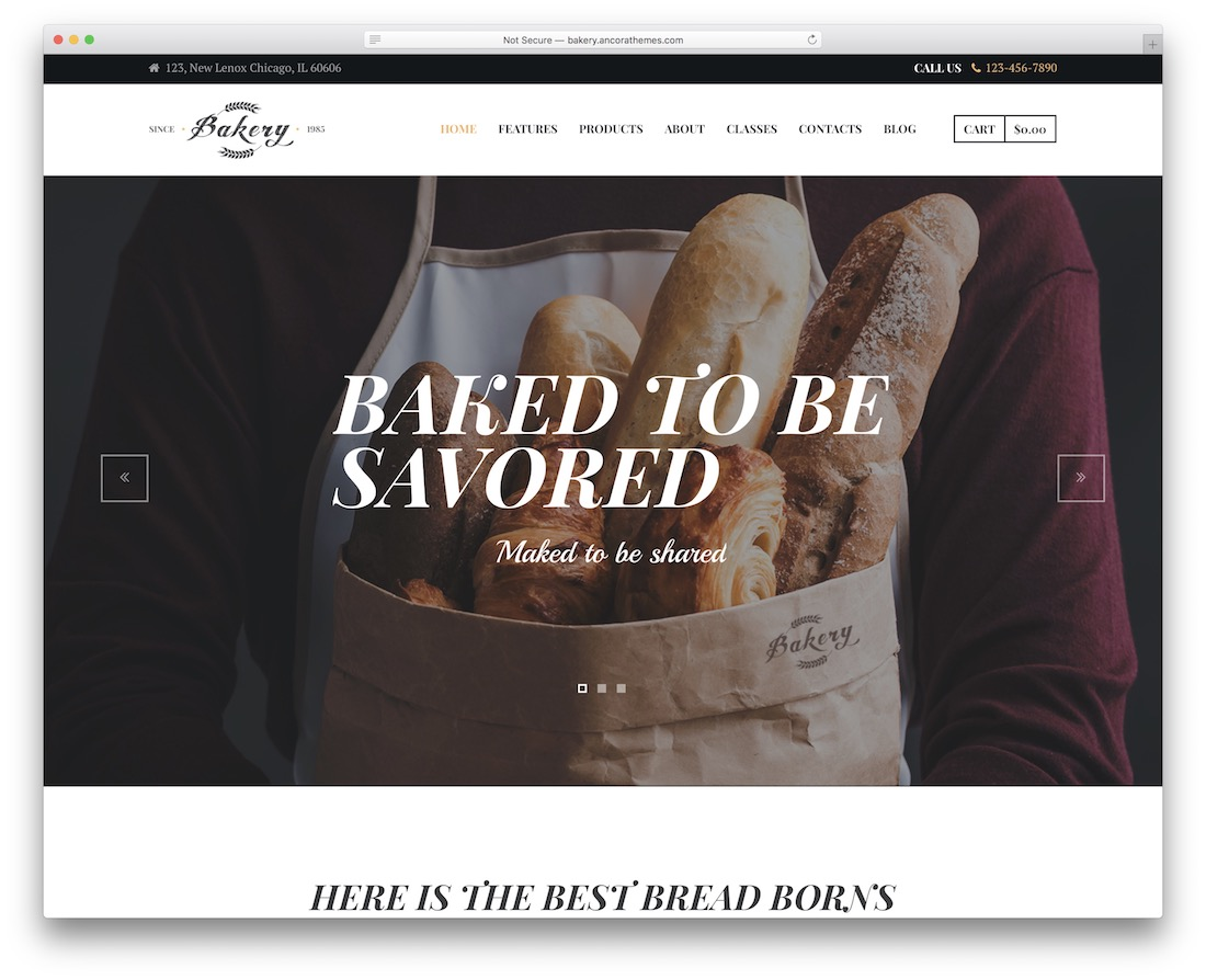 bakery cake shops wordpress theme