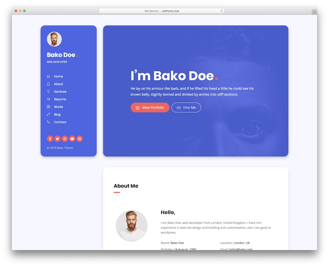 30 Best Html5 Resume Templates For Personal Portfolios 2020 Colorlib
