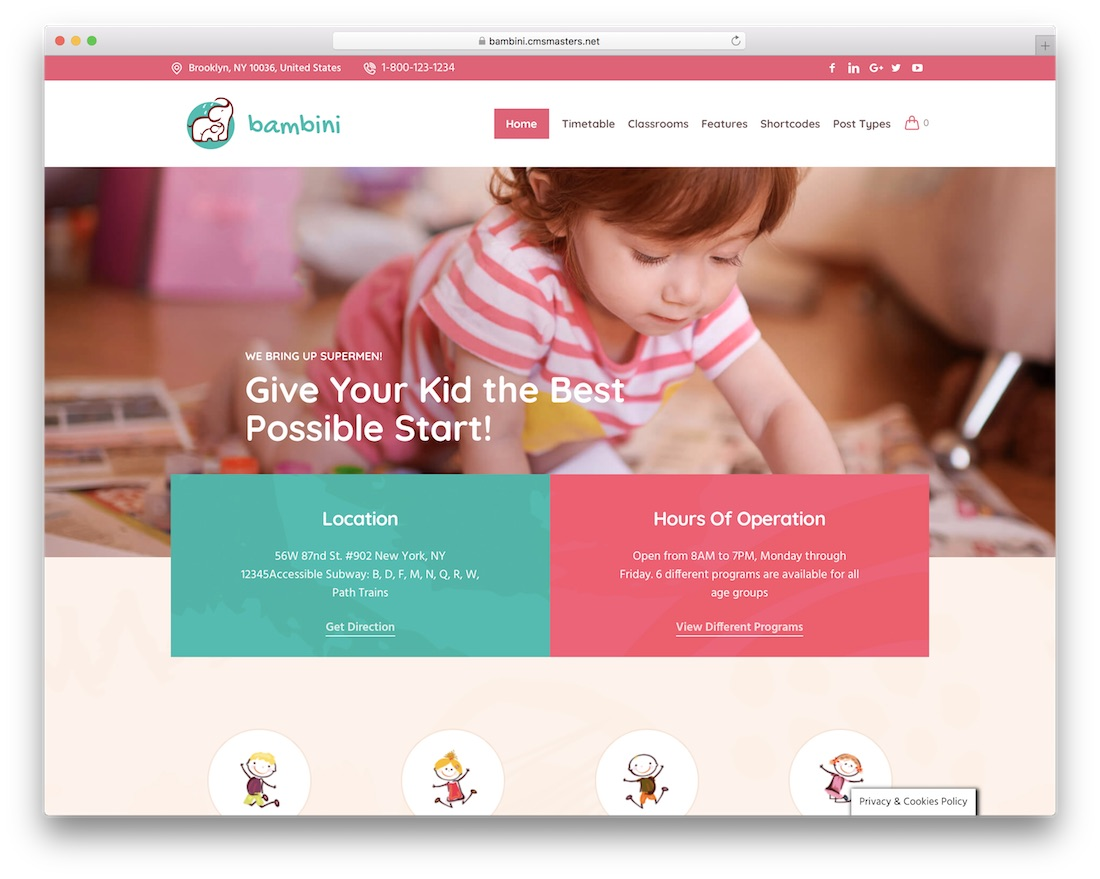 bambini kindergarten wordpress theme