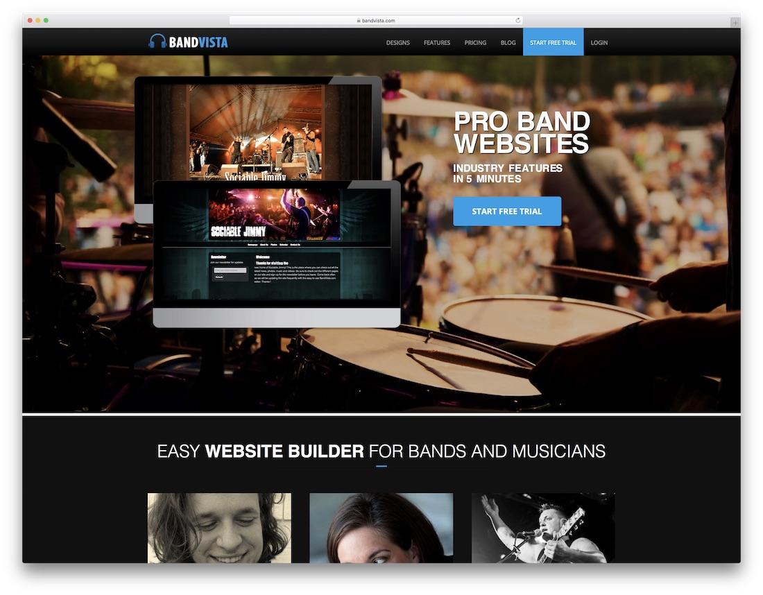 bandvista musician website builder