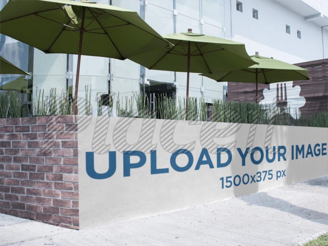banner mockup outside a restaurant