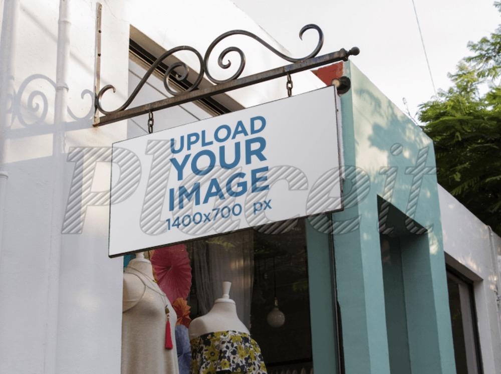 banner mockup outside a vintage boutique