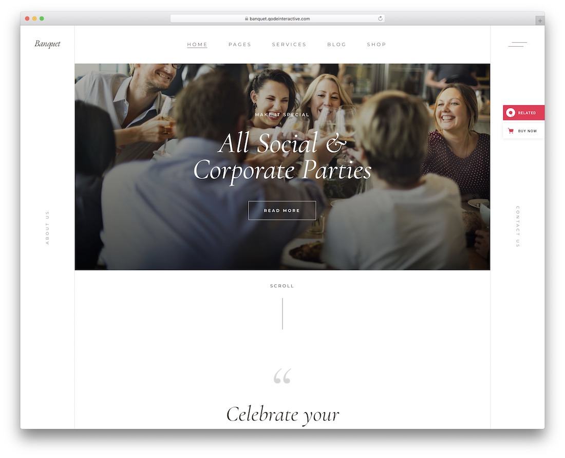 banquet event website template