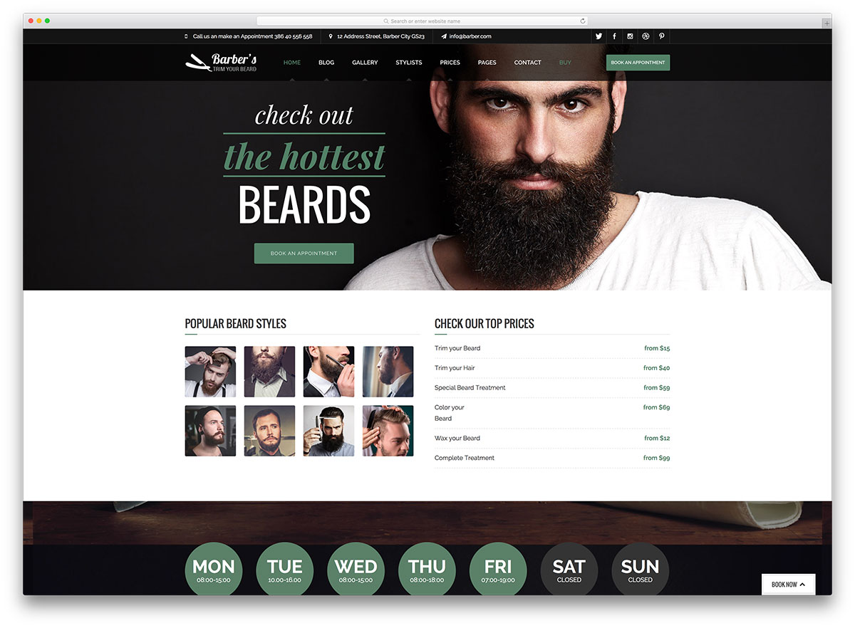 21 hair salon and barber shop wordpress themes 2018 colorlib