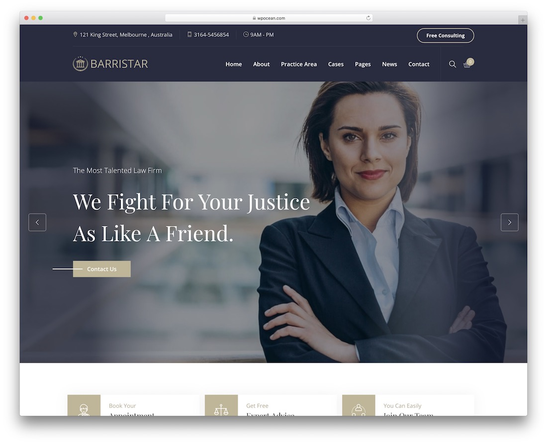barristar lawyer wordpress theme