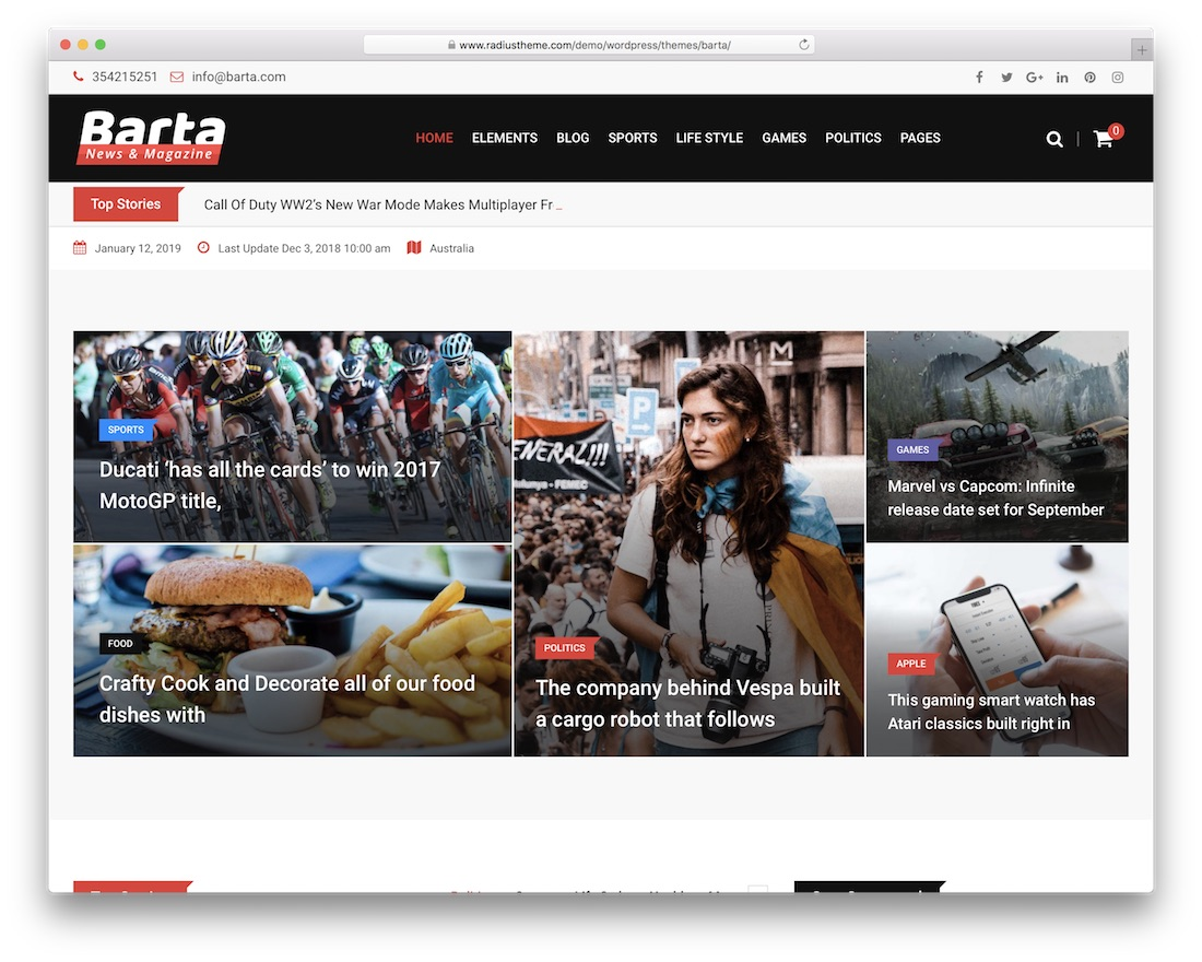 barta bootstrap wordpress theme