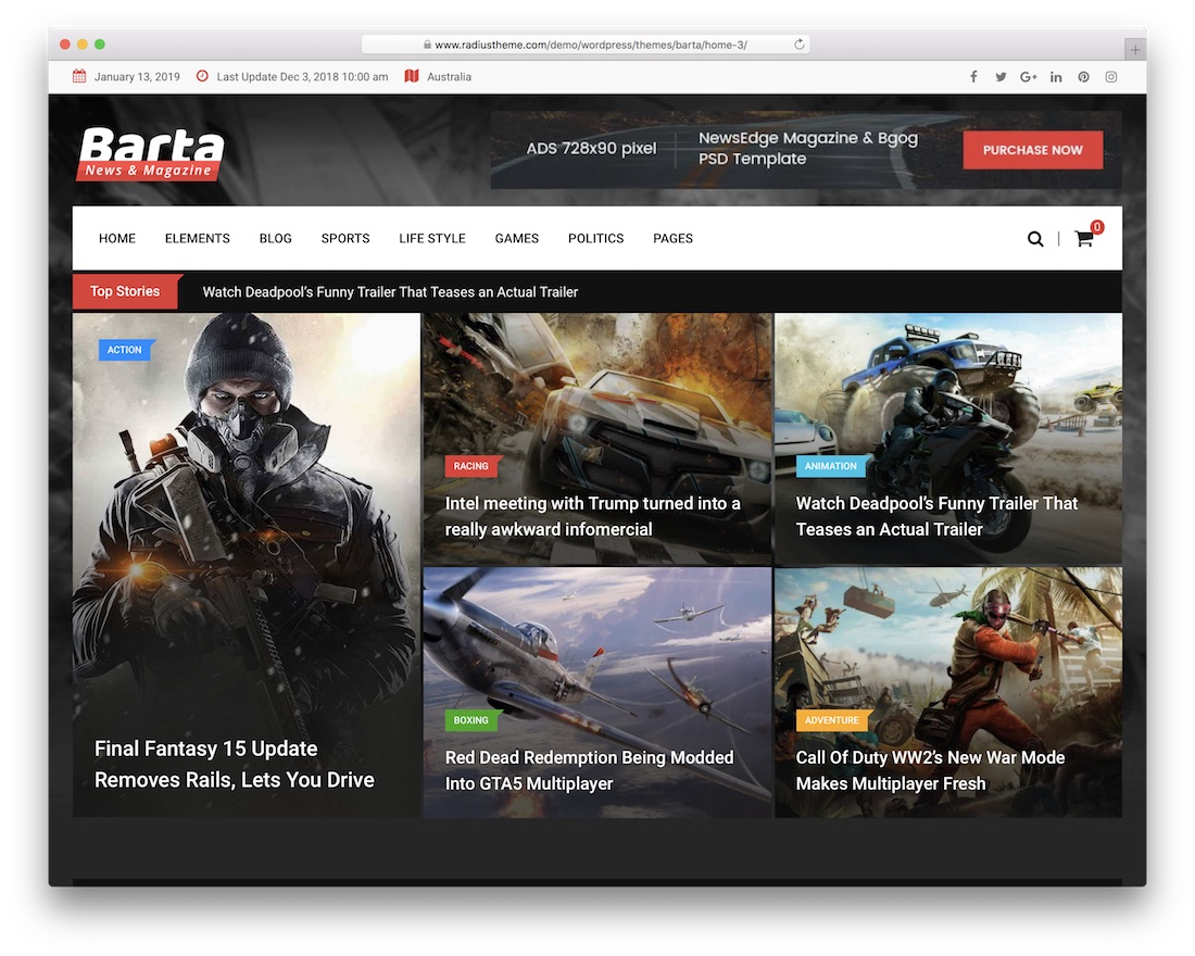 barta magazine wordpress theme