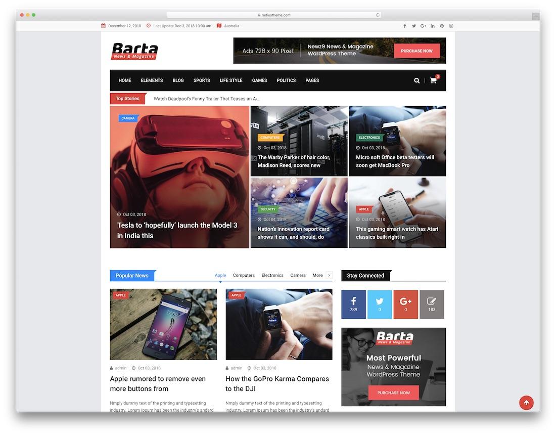 barta technology news wordpress theme