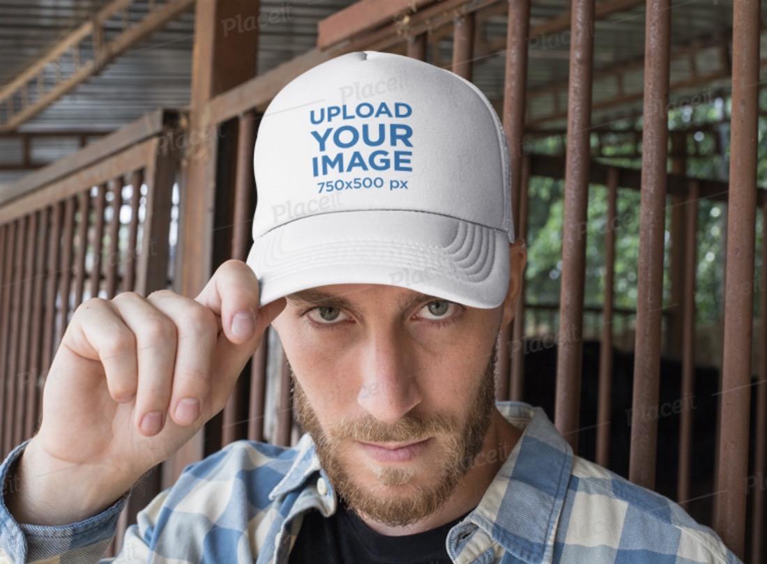 baseball cap mockup featuring a modern cowboy