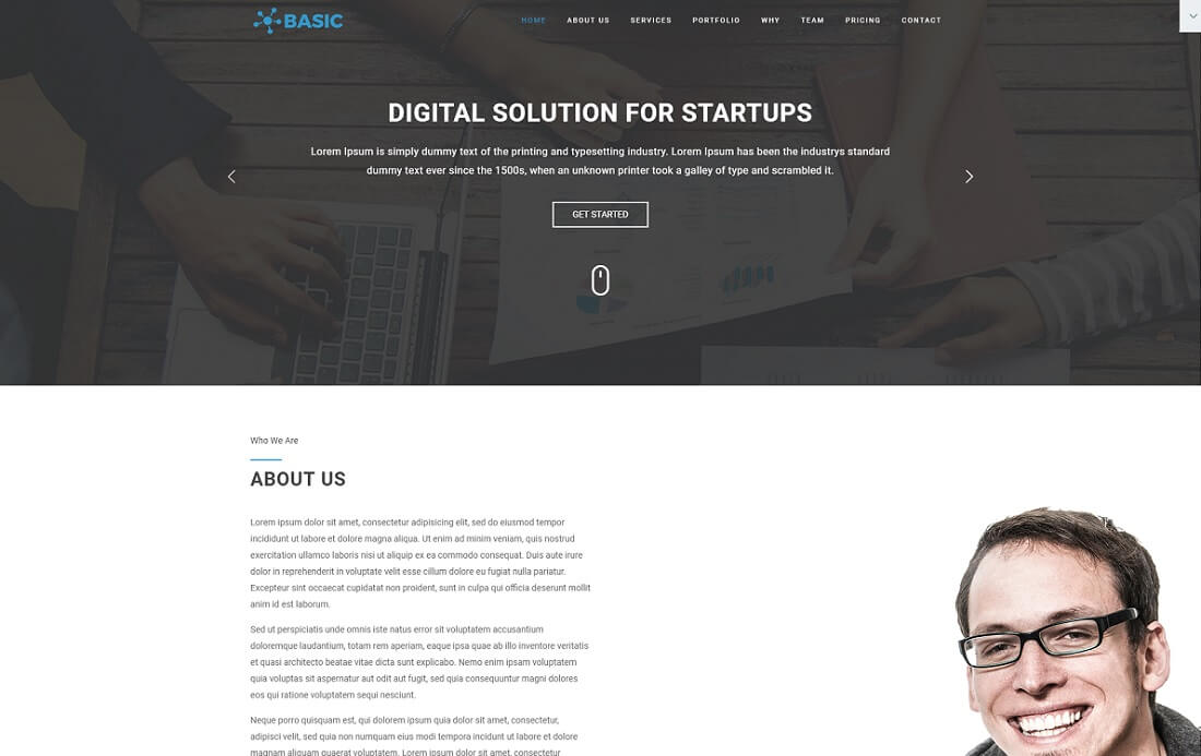 basic free bootstrap 4 portfolio website template