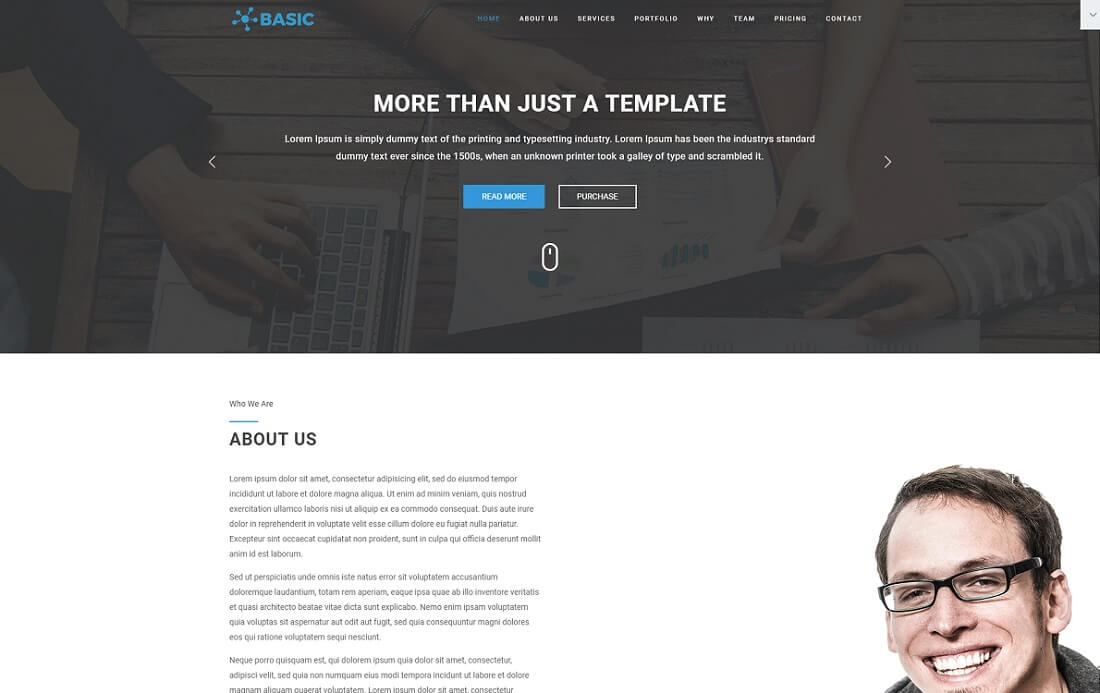 basic free bootstrap 4 website template