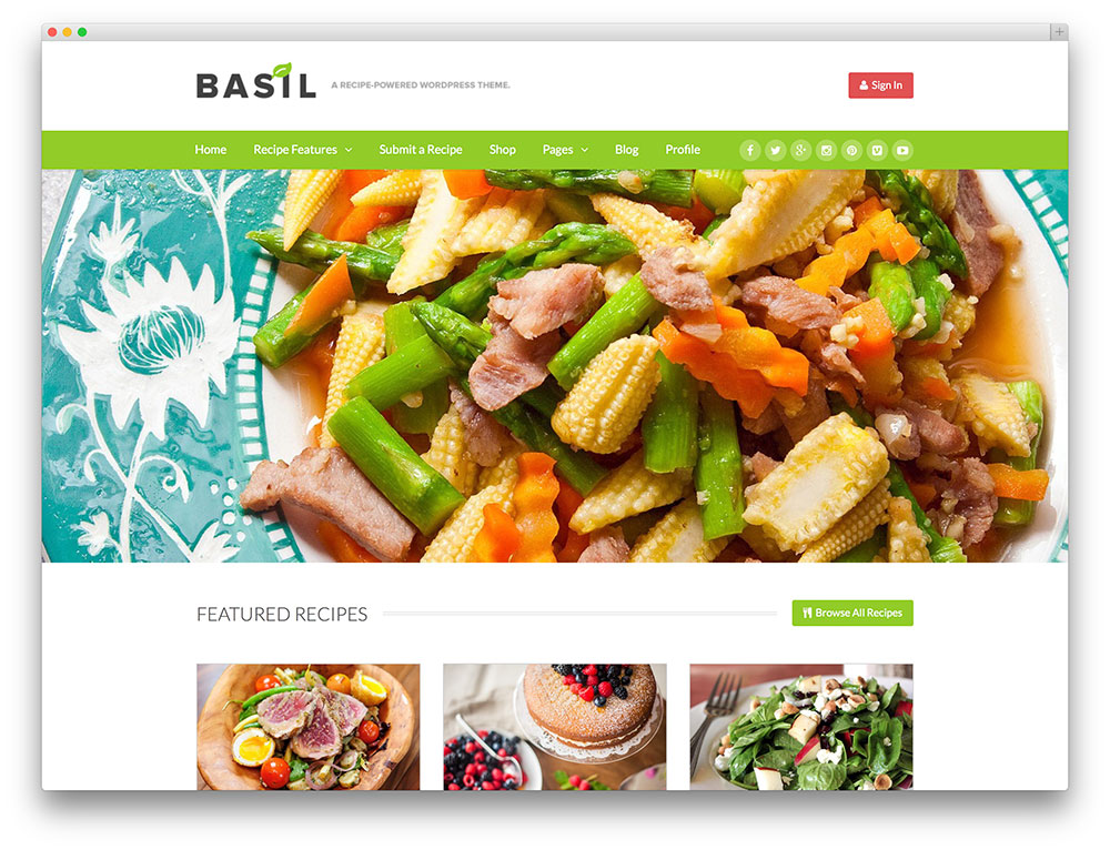basil - recipe sharing wordpress theme