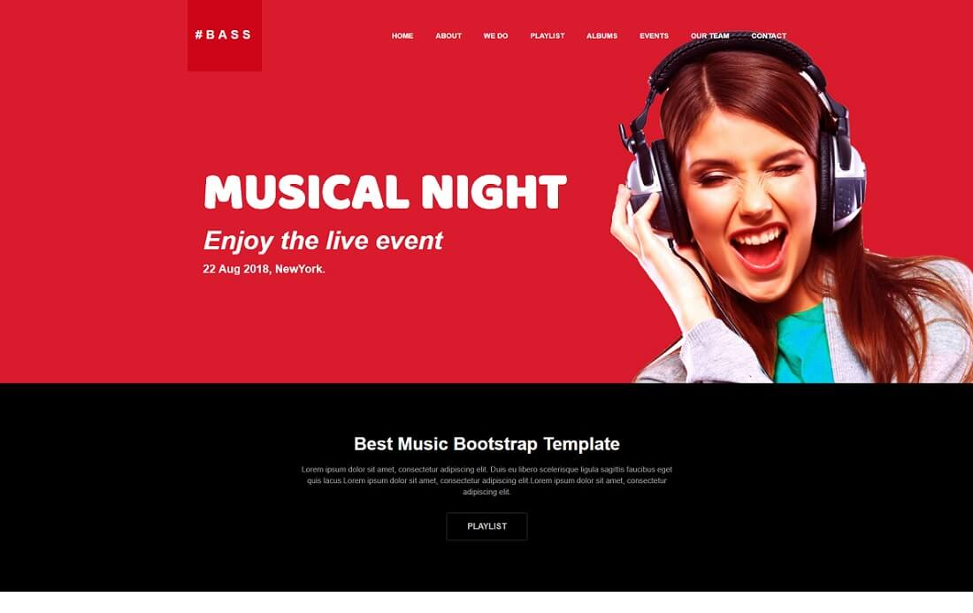 bass free music website template