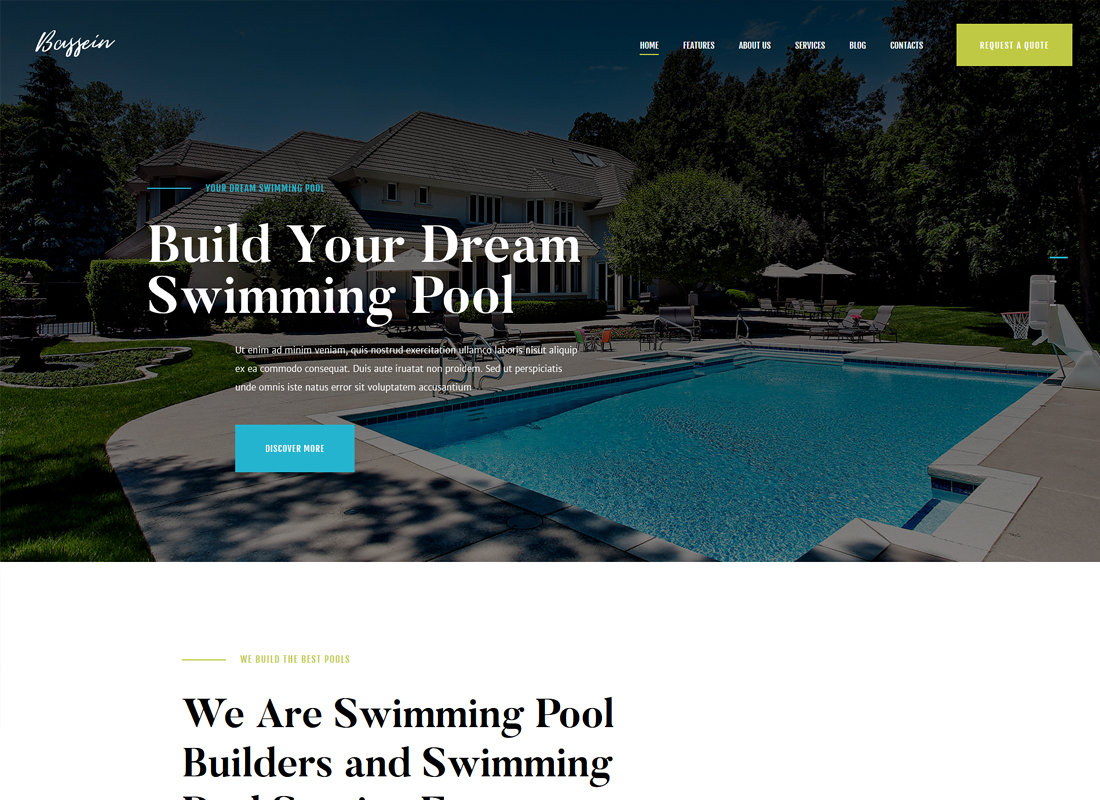 Bassein - Swimming Pool Service WordPress Theme