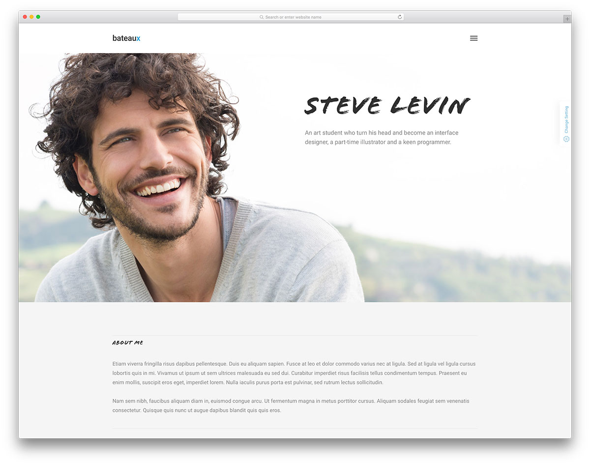bateaux minimal resume vcard website template - Resume Web Template