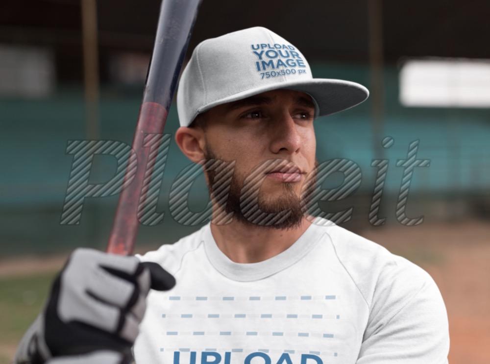 batter wearing a raglan t-shirt and a hat mockup