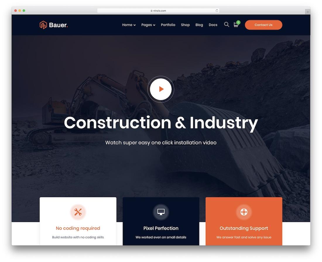 bauer construction website template