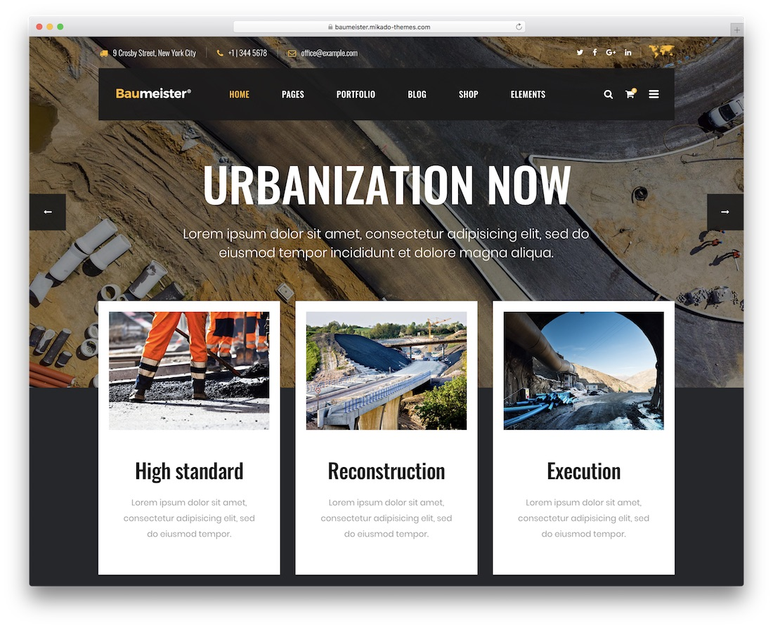 baumeister construction company wordpress theme