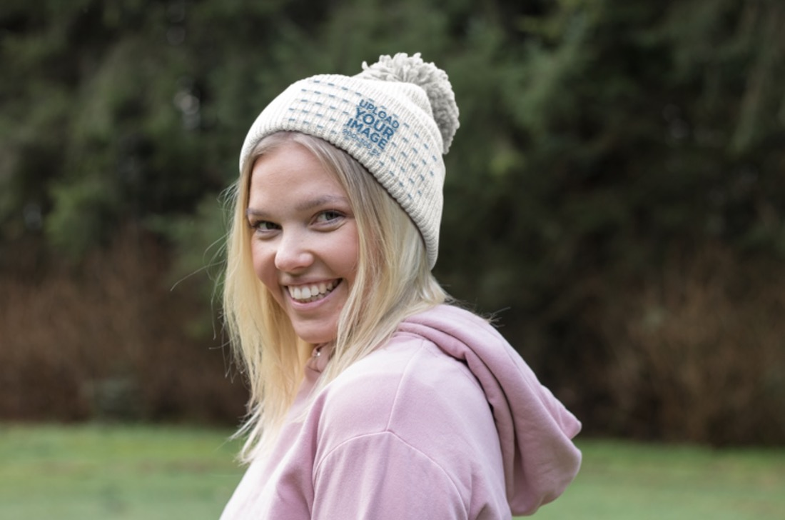 beanie mockup of a smiling woman