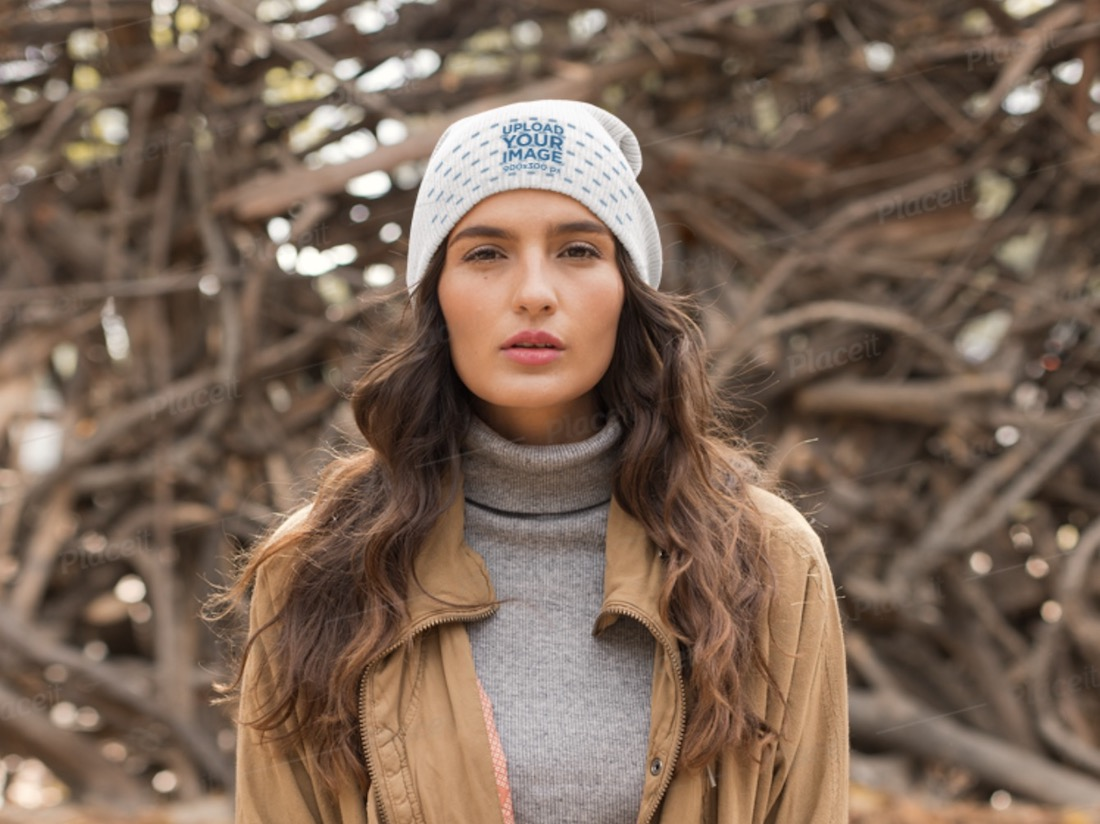 beanie mockup of a young woman