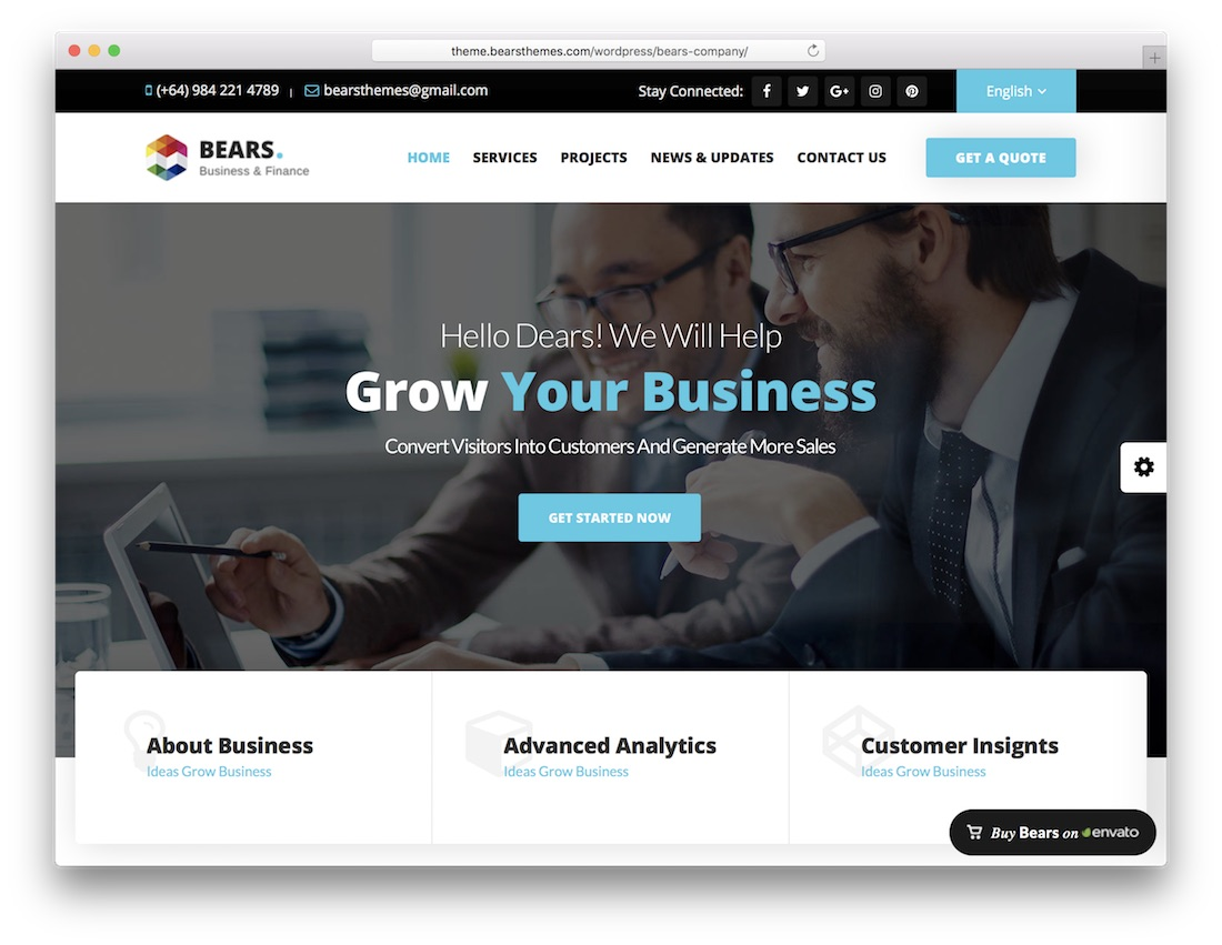 bears small business wordpress theme