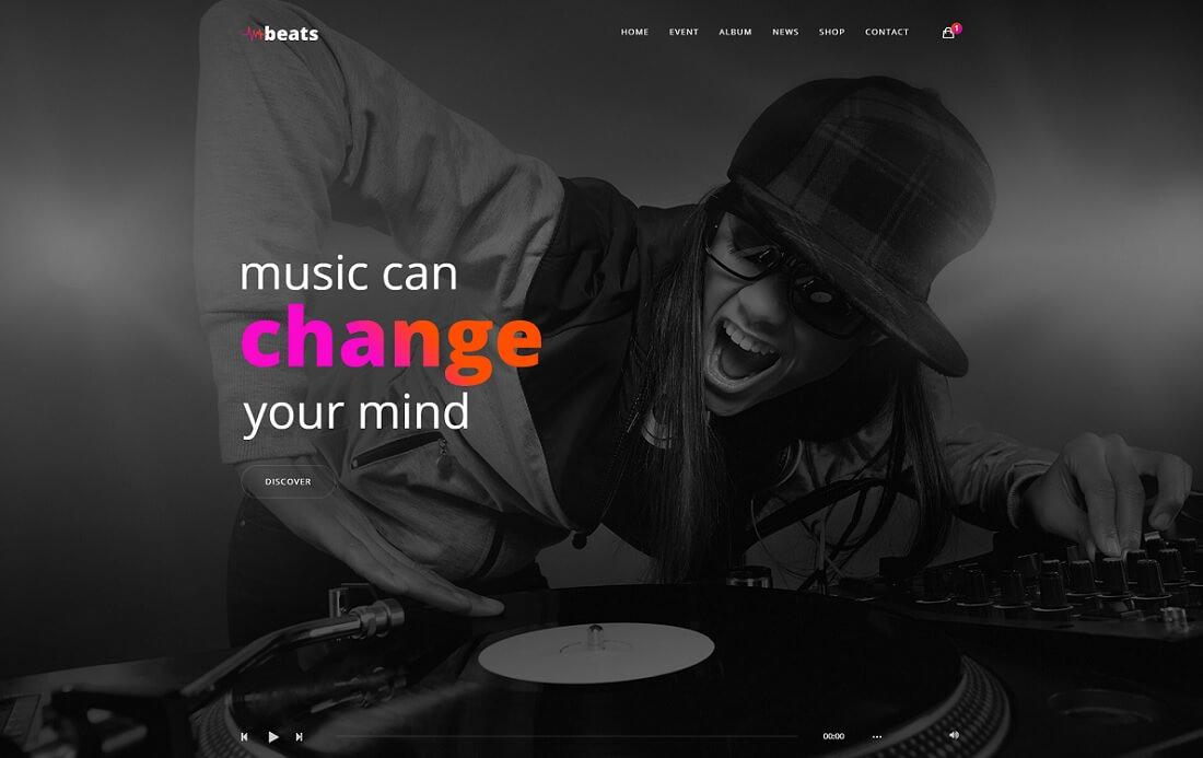 beats artist website template