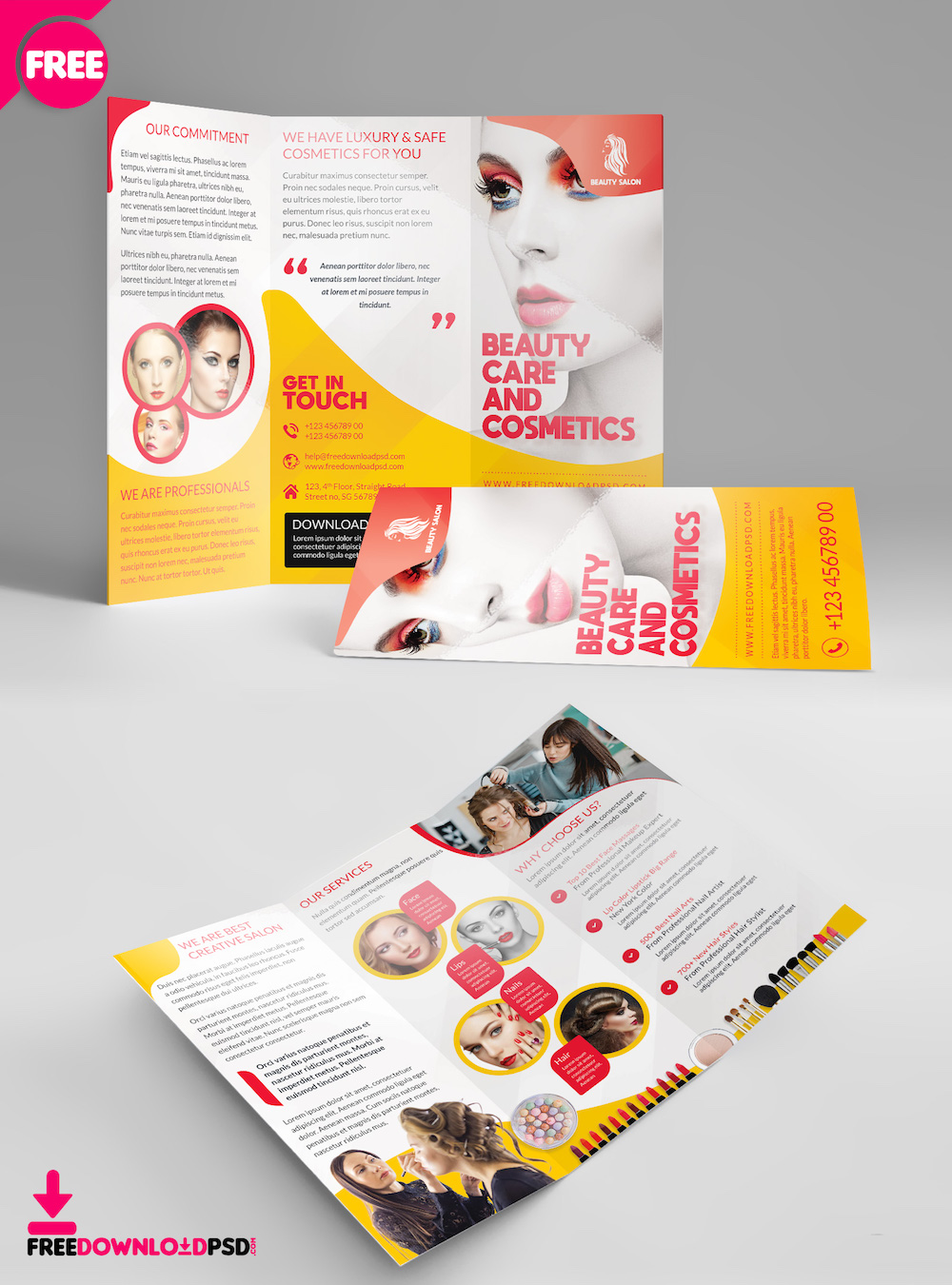 beauty salon tri fold brochure template mockup
