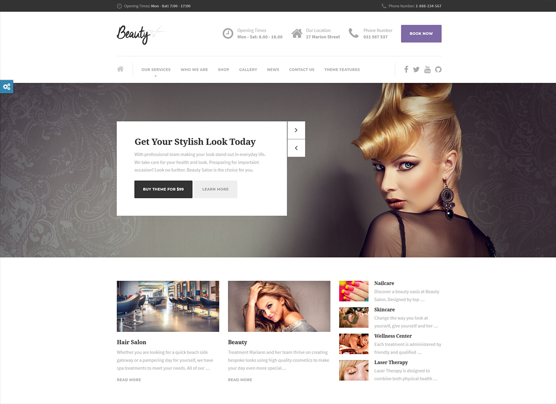 Beauty | Hair Salon, Nail, Spa, Fashion WordPress Theme