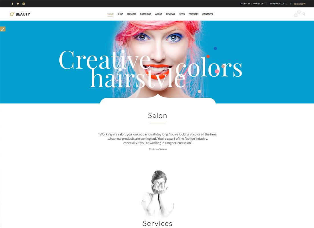 Beauty Hair Salon | Hair Salon, Barber Shop and Beauty Salon WordPress Theme