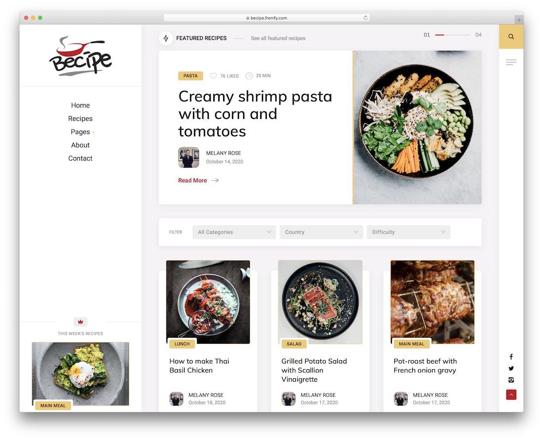 becipe recipe wordpress theme